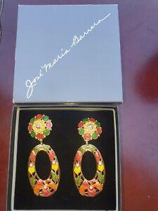 Vintage Jose Maria Barrera for Avon Enamel Hibiscus Flower Earrings