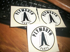 """LOT OF 3 VINTAGE """"PLYMOUTH PARTS"""" DECALS  NEW OLD STOCK CAR RACING PARTS"""