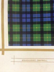 Original 1877 Antique Scottish Highland Clan Breadalbane Campbell Tartan Print