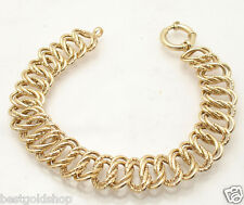 Ladies Diamond Cut Double Curb Link Bracelet Real 14K Yellow Gold 13.3gr