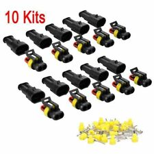 10 Pairs 2 Pin Way Car Auto Waterproof Electrical Connector Plug Socket Wire Kit