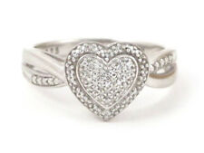 Sterling Silver Round Diamond Heart Cluster Right Hand Ring .35ct