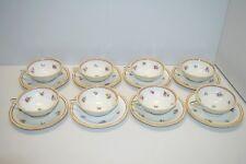 8 TASSES à CAFE ART DECO et leurs Soucoupes PORCELAINE A LANTERNIER Limoges thé