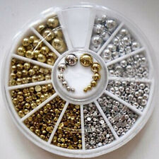 400Pcs/Box Flat Back Nail Art Metallic Studs Gold Silver Acrylic Tips Decoration