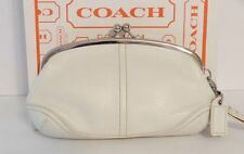 COACH WHITE LEATHER SOHO KISSLOCK WRISTLET COSMETIC CHANGE CLUTCH EVENING POUCH!