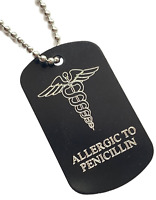 Personnalisé Allergic To Pénicilline Alerte Médicale Id Noir Tag Gravé Gratuit