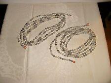 2 strings vtg hard plastic hand strung pearl & silver bead Christmas garland