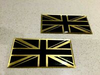 Domed Resin Gel Stickers - UNION JACK GOLD & BLACK x 2  53mm x 27mm Exterior Use