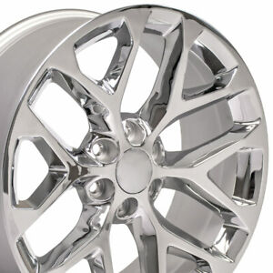 "22"" Rim Fits Chevy Silverado 1500 Snowflake CV98 Chrome 5668 22x9 Wheel"