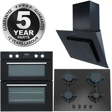SIA Built Under Electric Double Oven & Angled Cooker Hood and 60cm Black Gas Hob
