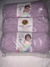Lion Brand Baby Soft Boucle Yarn-Lavender Lot Of 3 Skein Package. 3.5 oz 120yd