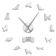 Golden Retriever Wall Clock Dog Pet Mirror Wall Stickers DIY Giant Wall Clock