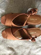 NEW WOMENS NEXT TAN COLOUR CROSS OVER SUEDE LEATHER SANDALS SIZE 6.5