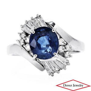 Estate Diamond 2.58ct Natural Sapphire Platinum Fancy Bypass Ring 7.3 Grams NR