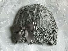 New Hand Knitted Baby Girl's Silver Grey  Beanie Hat With Grey  Bow 0 -3 Mths