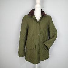 Ralph Lauren Womens Quilted Equestrian Jacket M Medium Green w/ Brown