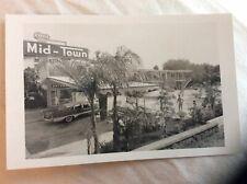 Mid-Town Motel Pool 1950s Automobile Palm Trees Real Photo Postcard RPPC