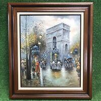 J. Gaston  Paris Street Scene,( Signed, ) Original Oil Painting on Canvas Framed