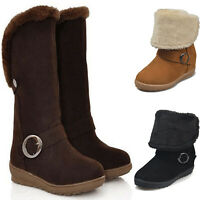 Womens Mid Calf Fleece Lined Fur Boots Ladies Fold-Over Snow Winter Warm Shoes
