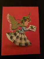 "Vtg Norcross Christmas Greeting Card ""Gingham Girl"" holly card 1940s-50s"