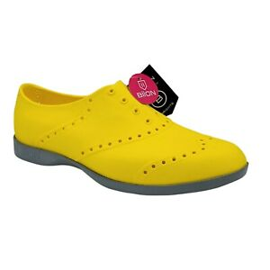 Biion Brights Shoes Mustard Yellow Gray Men Size 8 Women 10 Washable Rubber New