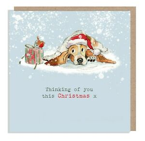 Thinking of you Christmas Card - Bassett -Printed on sustainable board in the UK