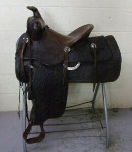 "FRED MUELLER - Antique Western High Back Saddle - 14"" - Tooled/SUPPLE -WONDERFUL"