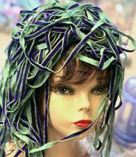 "VINTAGE 1/4"" VELVET Rayon ribbon 3yds Purple & Green Made in France"