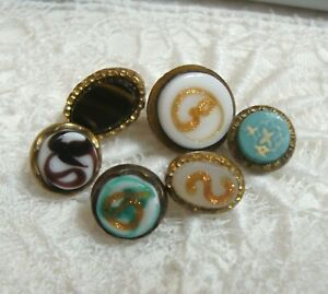 """6 Antique Metal & Glass Waistcoat Buttons 3/8"""" to 1/2"""""""