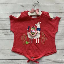 Baby Girls 9-12 Months - Tie Front T-shirt - E-VIE ANGEL Pink Llama Summer Top