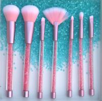7Pcs Crystal Makeup Brushes with Glitter Rhinestones Powder Eye Shadow Brush Set