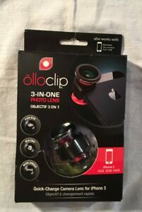 OLLOCLIP 3-IN-ONE PHOTO LENS QUICK CHANGE CAMERA LENSE FOR IPHONE 5 NEW IN PACKA