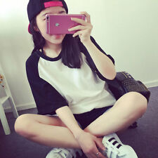 Fashion Women Student Color Block Splice Short Sleeve T Shirt Tops Blouse Black
