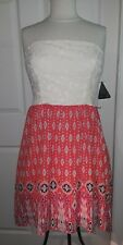 NWT City Triangles Dress Size 11 Strapless Red White Handkerchief Summer