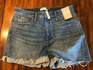 NWT! Madewell High Rise Denim Shorts Frayed Hem Cuff Light Wash Size 32