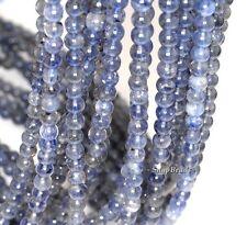 "5MM BERMUDAN BLUE IOLITE GEMSTONE GRADE AA BLUE ROUND 5MM-6MM LOOSE BEADS 16"""