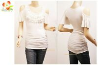 Ivory Sexy Victorian Ruffle Crocheted Peep Shoulder Ruched Lace Blouse Shirt Top