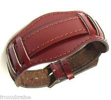 18mm BORDO MAROON 1950s WW2 USSR Original Soviet Russian Leather Watch Band