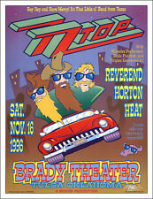 Z Z Top Horton Heat 1996 Original Tulsa Ok Brady Theater Signed Concert Poster