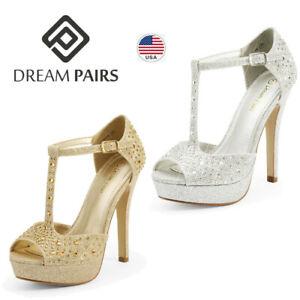 DREAM PAIRS Women's Stilettos High Heel Sandals Open Toe Wedding Party Shoes