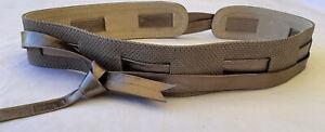 Ginger & Smart Metallic Bronze Beige Brown Leather Obi Wrap Waist Tie Belt EUC