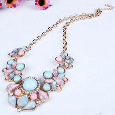 New Women Charm Crystal Beads Chunky Pendants Bib Chain Necklace Dress Jewelry