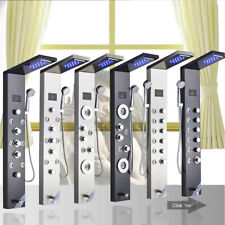 LED Stainless Steel Rainfall &Waterfall Shower Panel Tower Massage Jets Column
