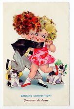 Animal CHIEN Chiens DOG dogs 98 carte fantaisie illustrateur concours de danse