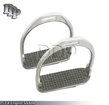 """Stainless 5""""FLEX English Saddle Stirrups Iron Pad Knee Ankle Stress Pain Relief"""