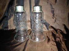 Antique Set 2  Etched Fluted Glass Lamp Candle Shades with Nickel Silver bases
