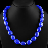 565.05 CTS EARTH MINED RICH BLUE SAPPHIRE GEMSTONE OVAL FACETED BEADS NECKLACE