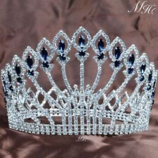 "Stunning 5"" Full Round Tiara Bride Crown Blue Rhinestone Miss Pageant Party Prom"