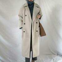 Women Warm Lapel Winter Jacket Double Breasted Wool Trench Coat Outwear Parka NW
