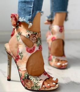 Ladies Floral Hollow Out High Heels Open Toe Womens Pumps Stilettos Sandals Shoe